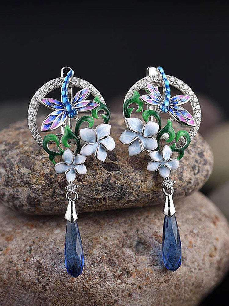 Zircon Enamel Women Jewelry Set Epoxy Flower Dragonfly Pendant Engagement Earrings Necklace Ring
