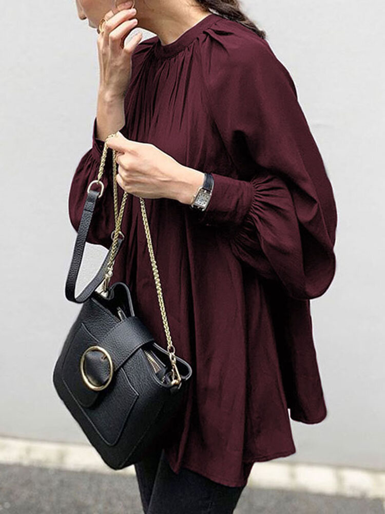 Solid Color Puff Sleeve Stand Collar Blouse