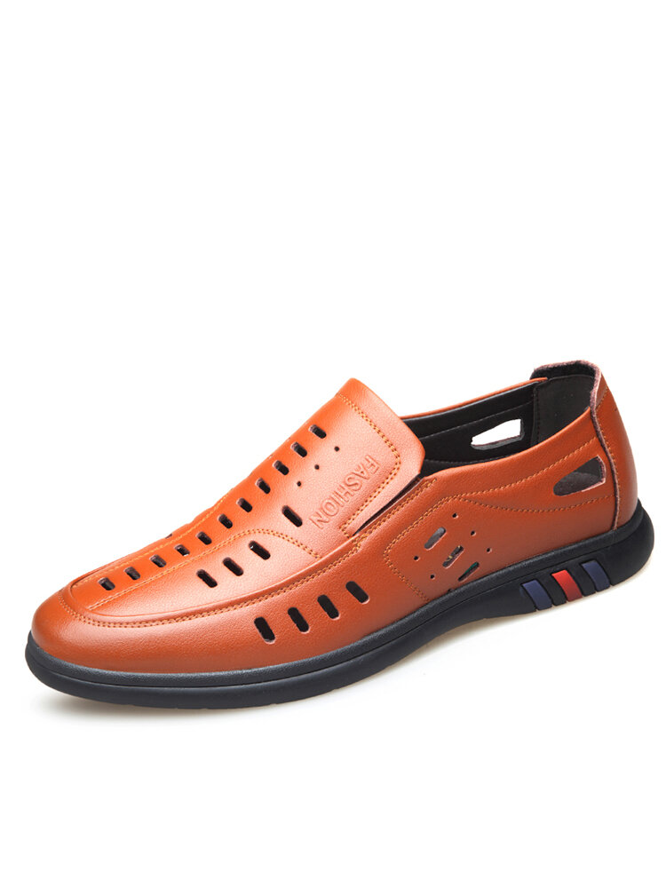 Men Breathable Hollow Out Cowhide Leather Slip-on Business Shoes