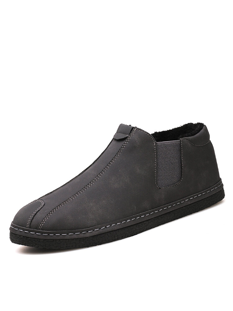 Men Warm Plush Lining Elastic Slip On Casual Ankle Boots