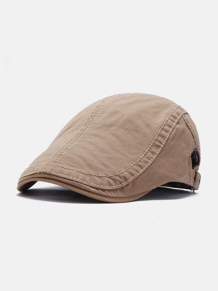 Men Cotton Beret Flat Cap Solid Color Ivy Gatsby Newsboy Sunshade Casual Peaked Forward Cap Adjustable Hat