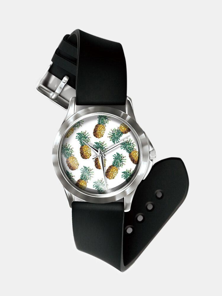 Casual Fruit Printed Men Watch No-Numeral Pineapple Pattern Women Quartz Watch
