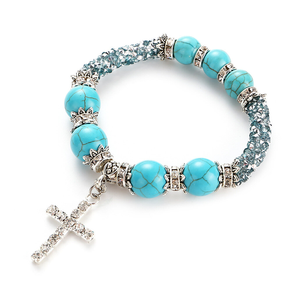 Boho Rhinestones Natural White Blue Turquoise Stone Beads Cross Bracelets Gift for Women