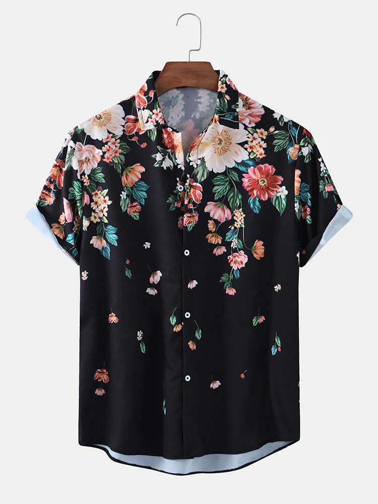Mens Ethnic Floral Print Loose Casual Breathable Short Sleeve Shirts