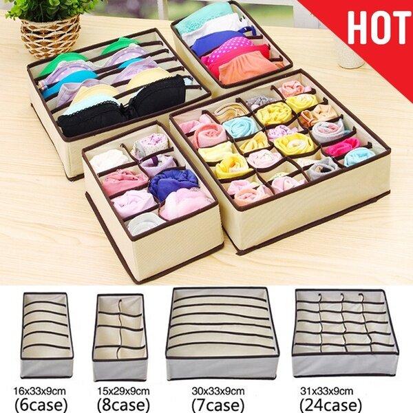 4Pcs Closet Foldable Cloth Storage Bins Socks Bra Underwear Drawer Divider Storage Box