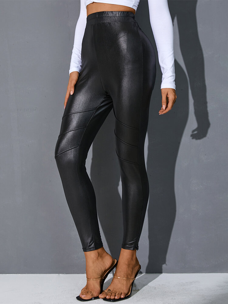 Solid Color Plain Leather Bodycon Casual Leggings for Women