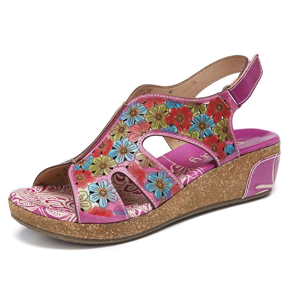SOCOFY Leather Cutout Floral Splicing Stitching Adjustable Slingback Wedge Sandals