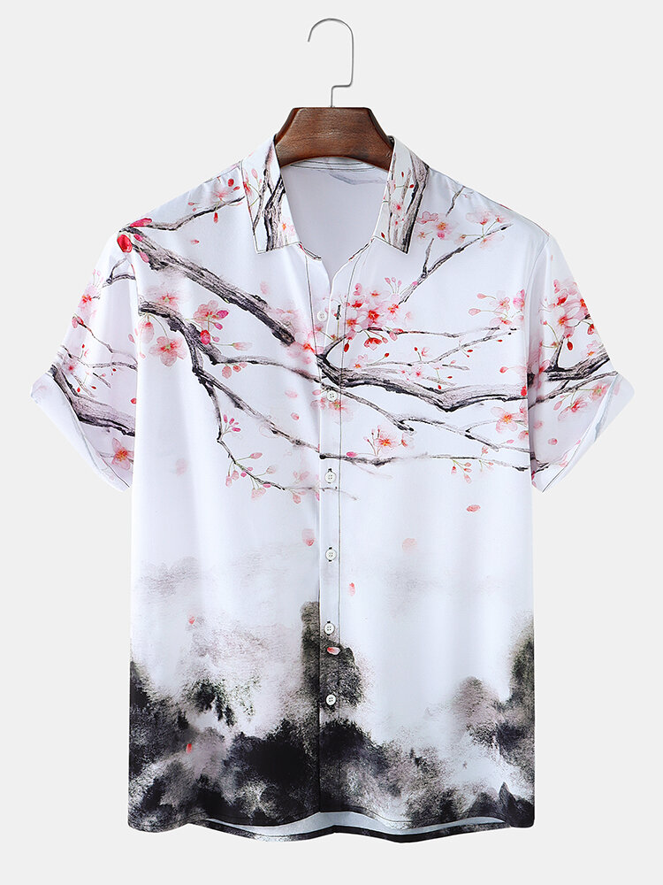 Mens Allover Chinese Painting Print National Style Short Sleeve Shirts