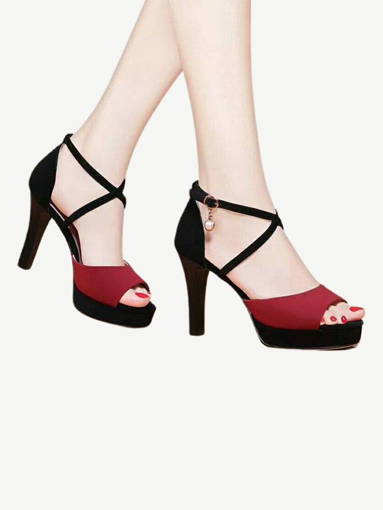 Season New Women's Super High Heel Sandals With A Word Buckle With Fashion Fashion Wild Women's Shoes