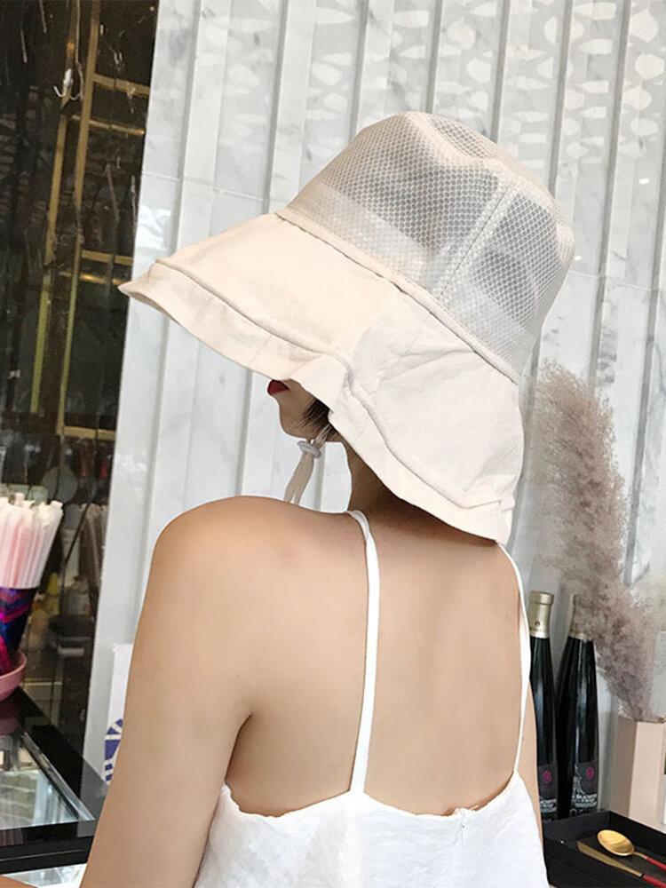 Women Summer Cotton Mesh Foldable Fisherman's Hat Outdoor Beach Sun Protective Visor Cap