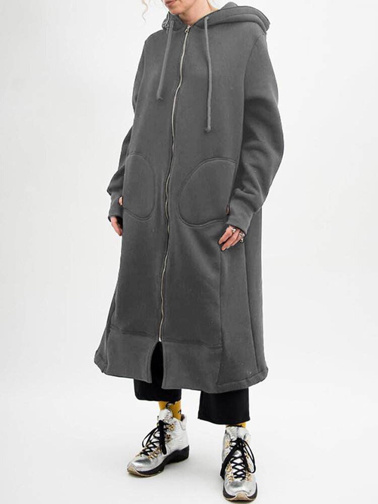Casual Solid Color Pockets Front Zipper Hooded Long Coat