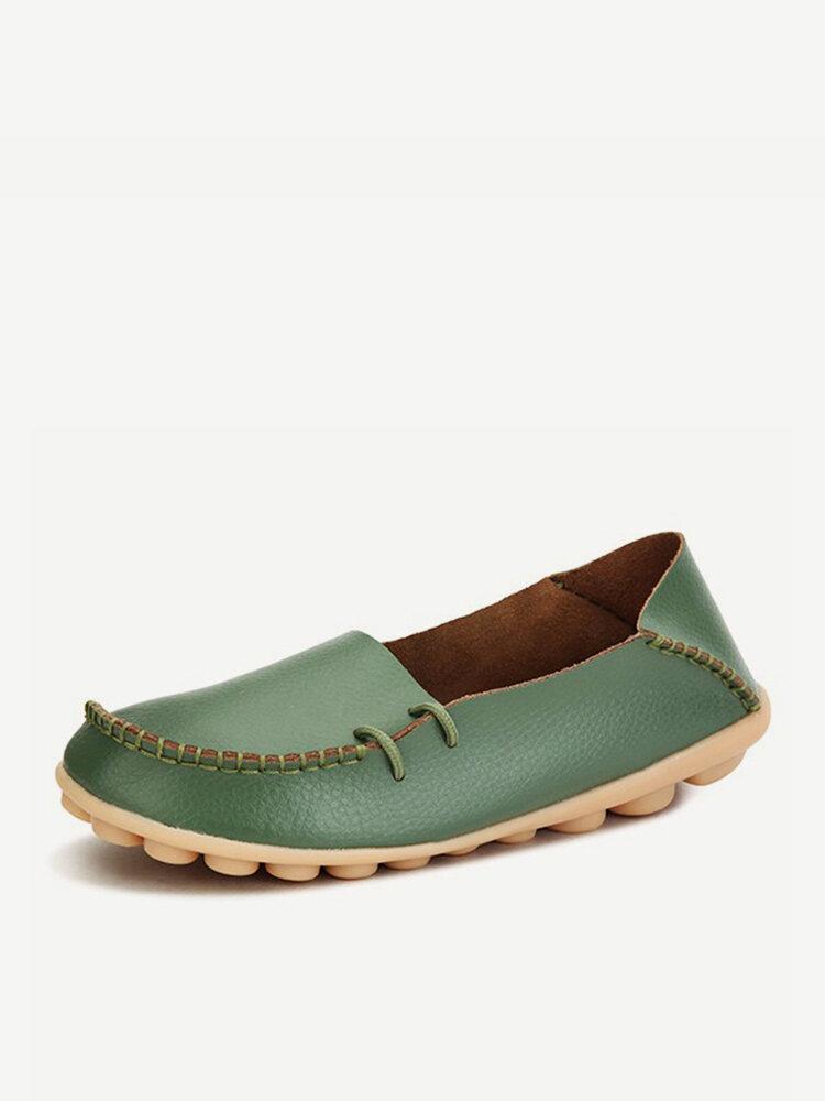 Big Size Pu Сплошной Мягкий Дышащий Повседневный Lace Up Плоские Обуви