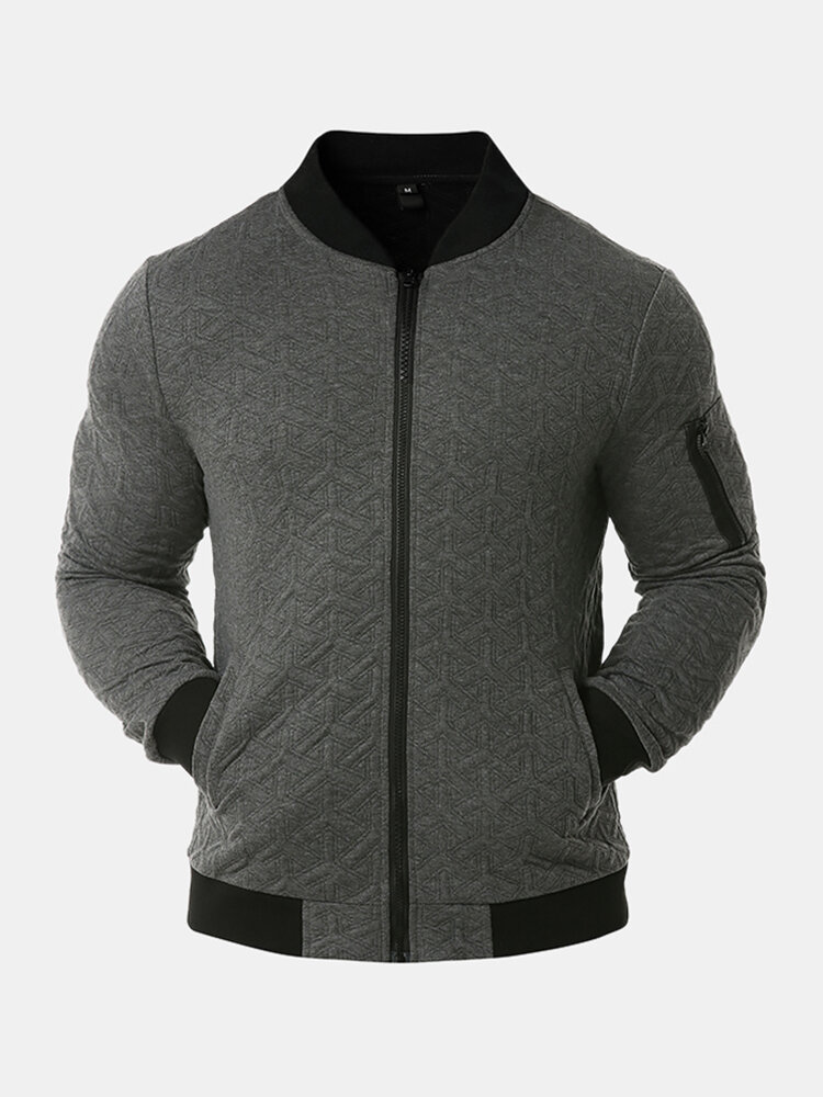 Mens Jacquard Zipper Front Detail Stand Collar Bomber Jacket