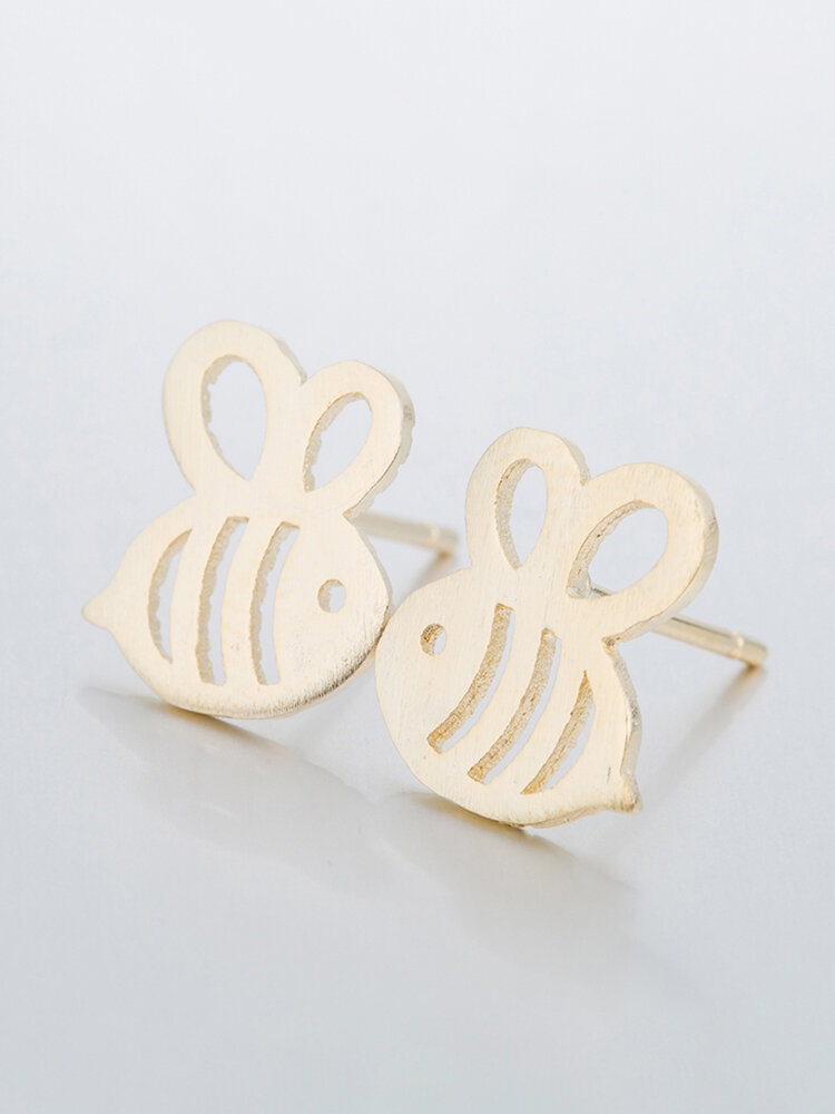 Cute Hollow Bees Stud Earrings Silver Gold Sweet Insect Ear Stud Accessories for Women