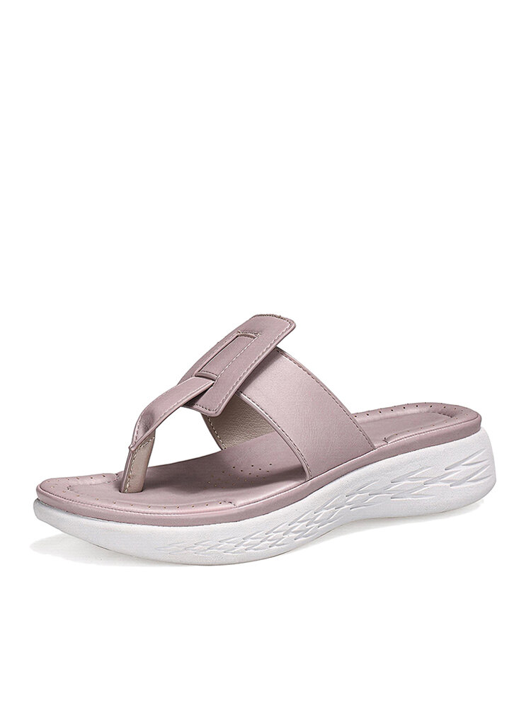Women Simple Solid Color Clip Toe Beach Wedges Slippers