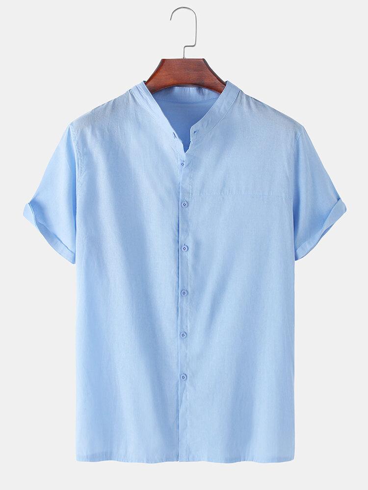 メンズソリッドカラーコットンリネンスタンドカラールーズカジュアルショートスリーブシャツ