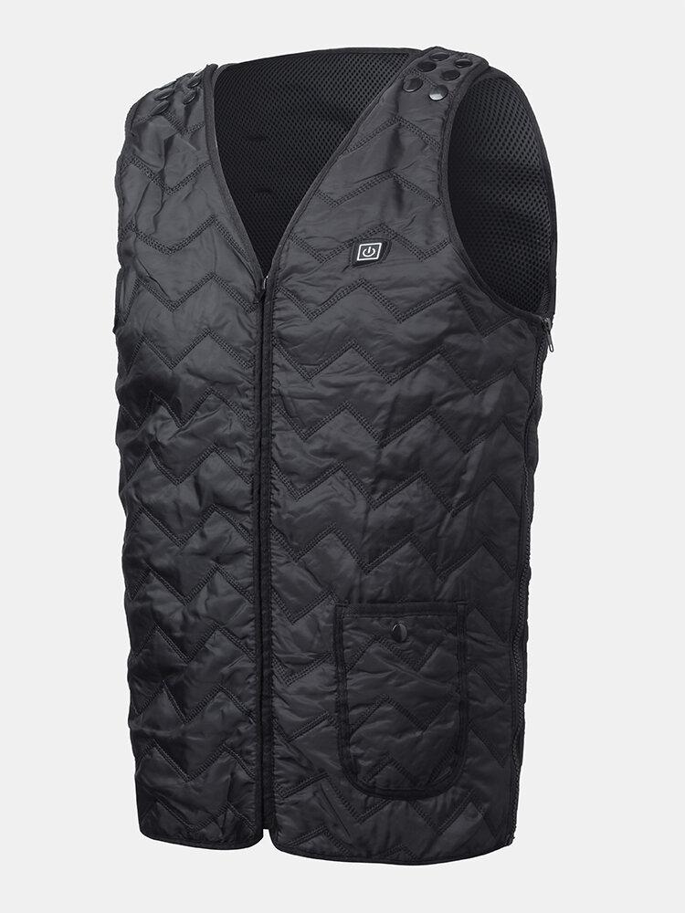 Mens 3 Level Smart Heated Warm Zipper Adjustable Size Washable Vests Functional Vest