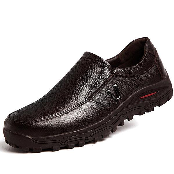 2b164a8cb539 Chaussures pointure large résistantes à l'usure décontractées en cuir de  vache pour homme grande solde - NewChic
