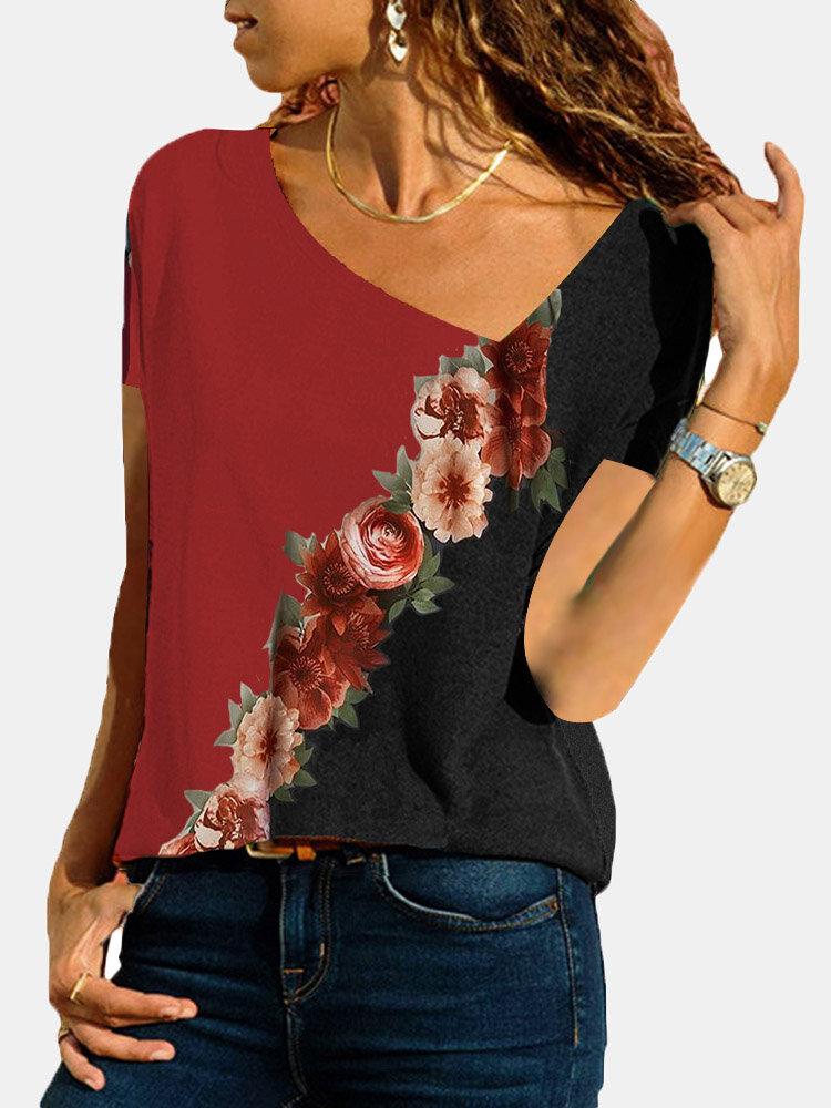 Calico Print Patchwork Asymmetrical Long Sleeve Plus Size Blouse for Women