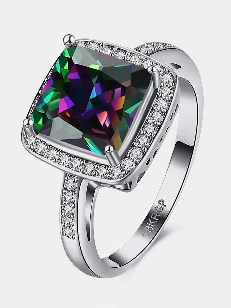 Retro Women Ring Full Rhinestone Rainbow Zircon Ring