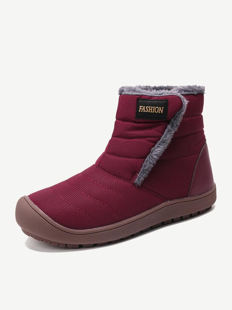 Women Winter Warm Lining Waterproof Hook Loop Ankle Snow Boots