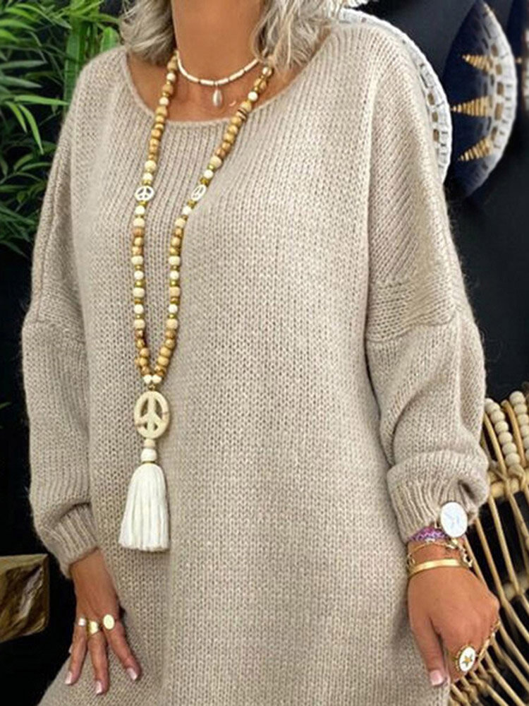 Bohemian Long Beaded Necklace Handmade Wooden Bead Tassel Peace Sign Pendant Necklace Sweater Chain