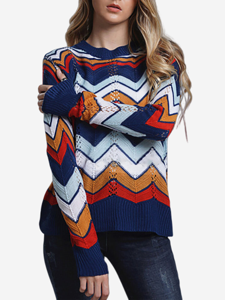 Multi-color Stripe Hollow Long Sleeve Casual Sweater
