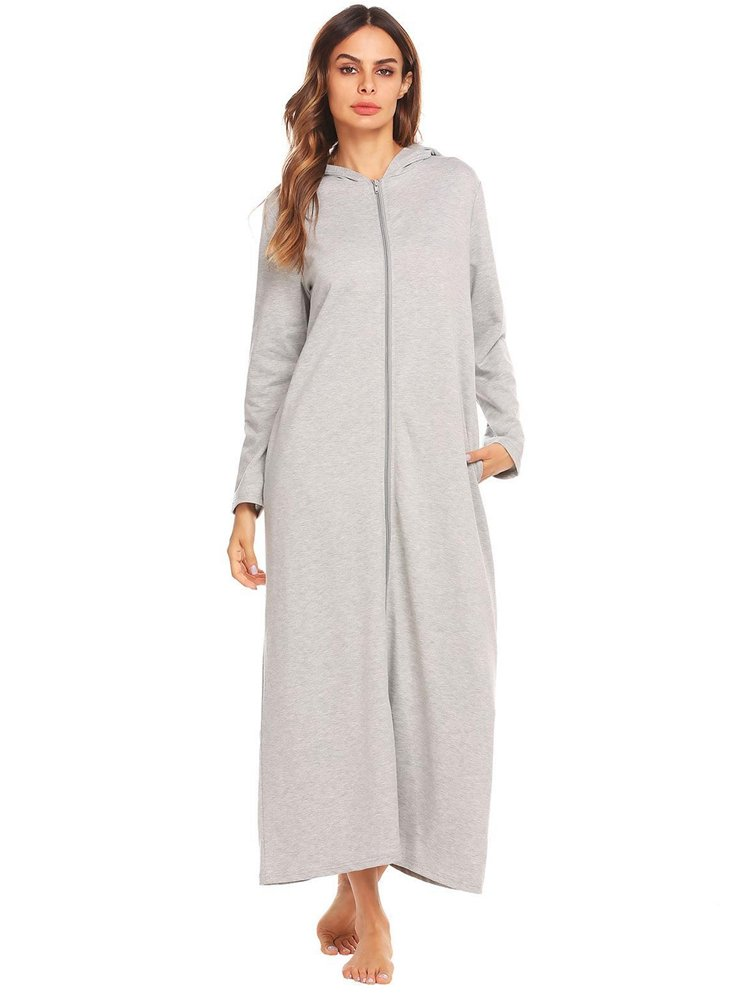 FLORHO Casual Pure Color Zipper Front Long Sleeve Hooded Women Dresses is comfortable see other simple casual dress on NewChic.