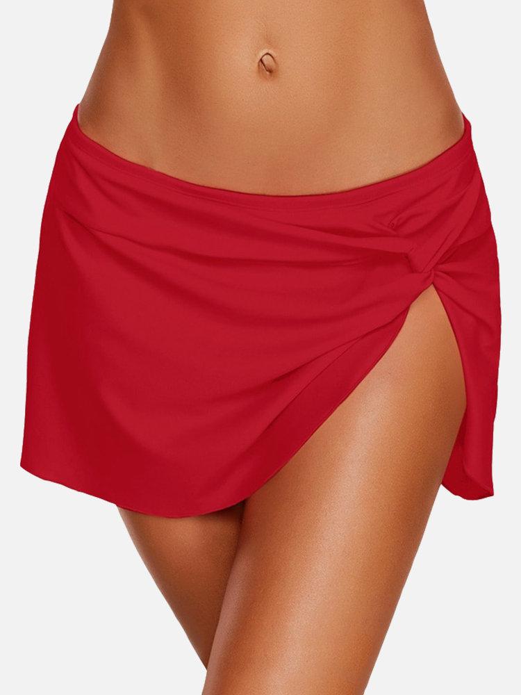 Plus Größen-roter unregelmäßiger Rock-Panty, der unten für Damen schwimmt