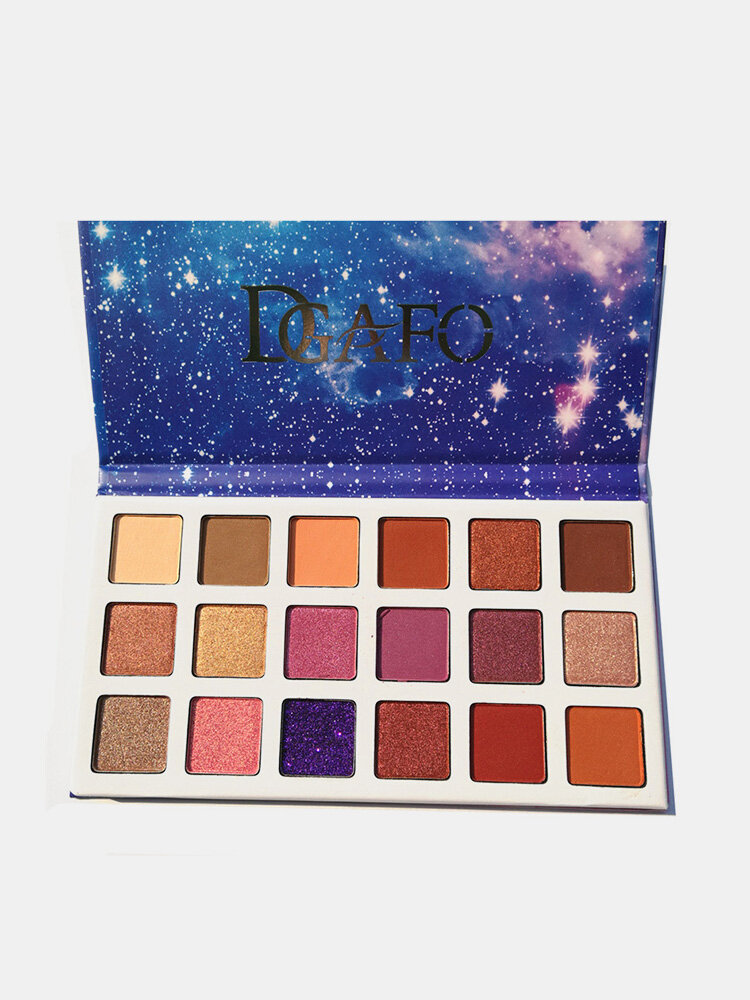 Paleta de sombras de ojos de 18 colores Purple Starry Sky Sombra de ojos de larga duración Polvo de pigmento prensado para ojos
