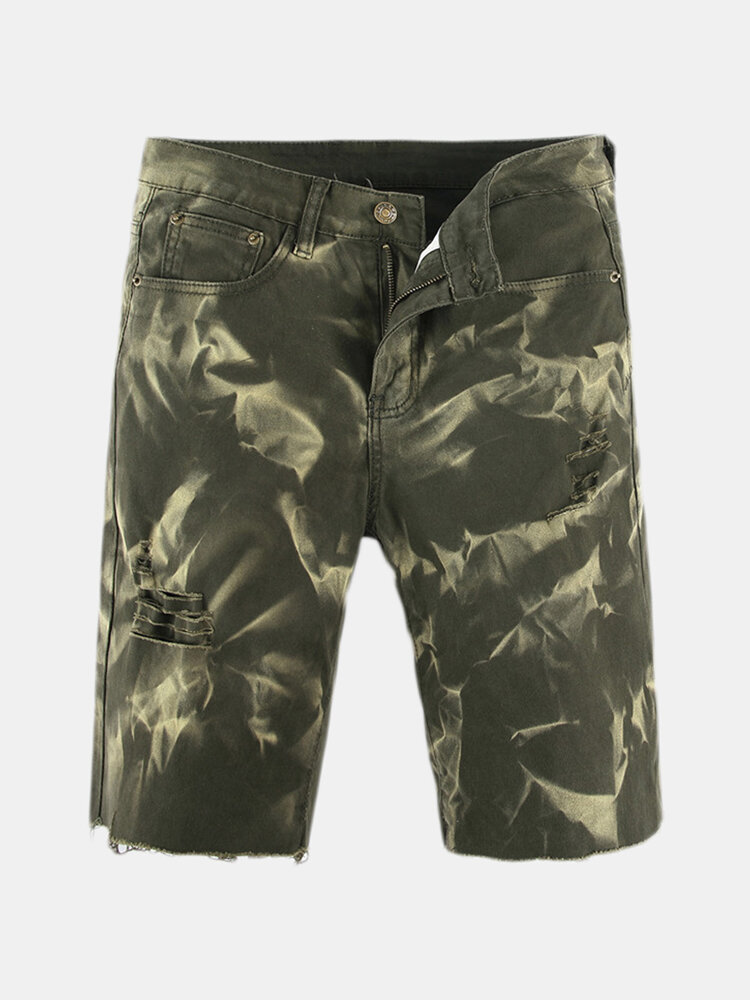 Loose_Casual_Straight_Washed_Green_Short_Jeans_For_Men