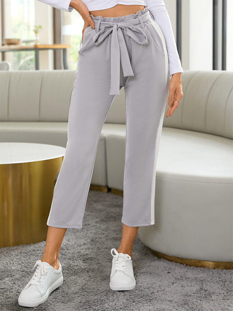 Side Striped Print Waistband Pocket Long Casual Sport Pants for Women