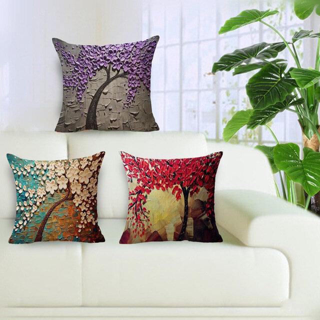 Housse de Coussin 3D 20 Styles Motif Floral Style Vintage en Coton et Lin pour Maison Voiture