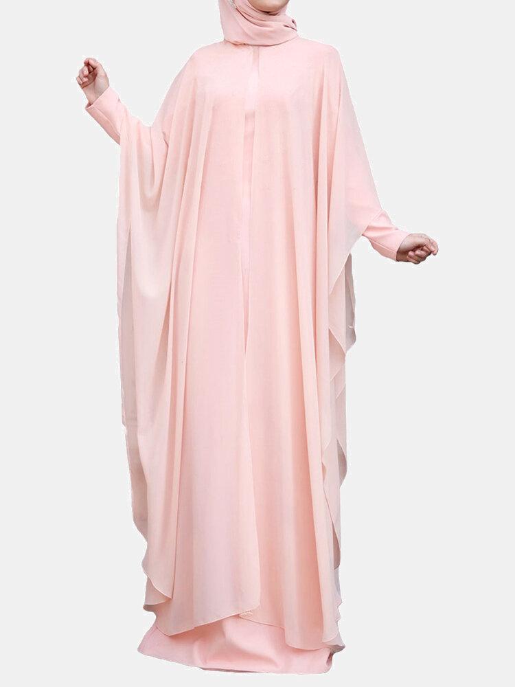 Plus Size Muslim Double Layer Two-piece Chiffon Maxi Dress