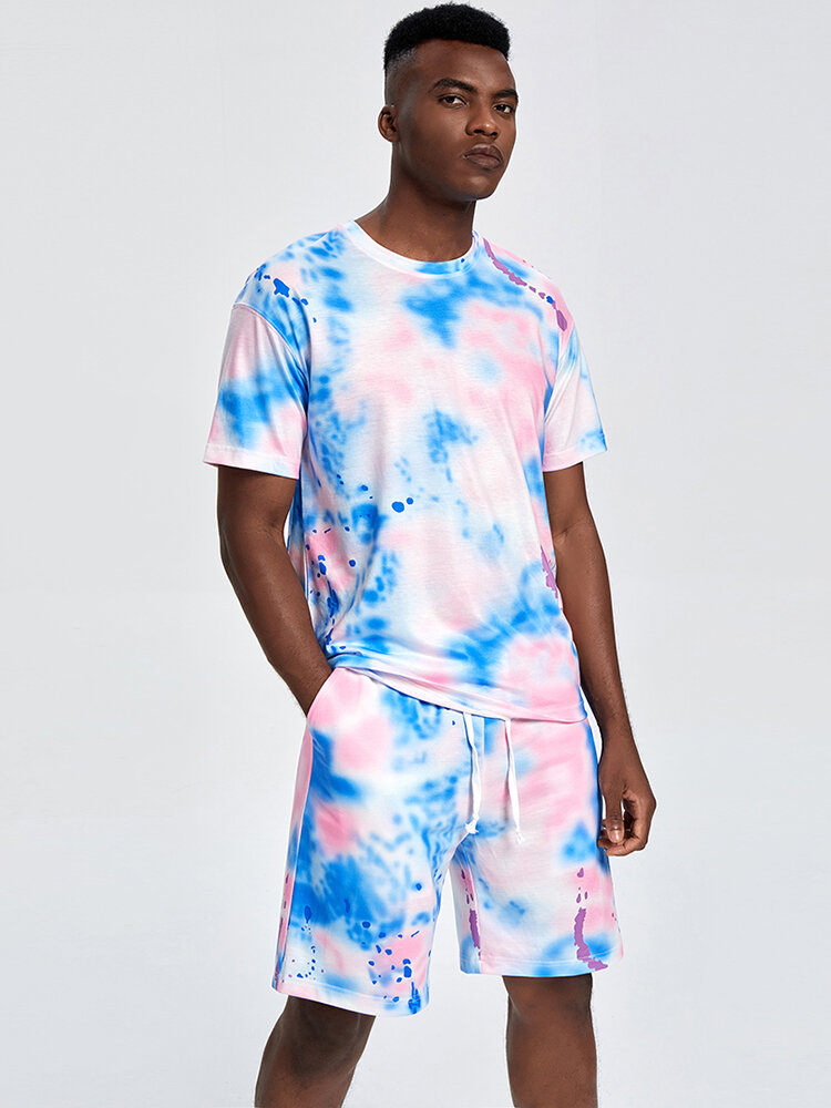Mens Street Tie Dye Short Sleeve Pocket Two Piece Outfits