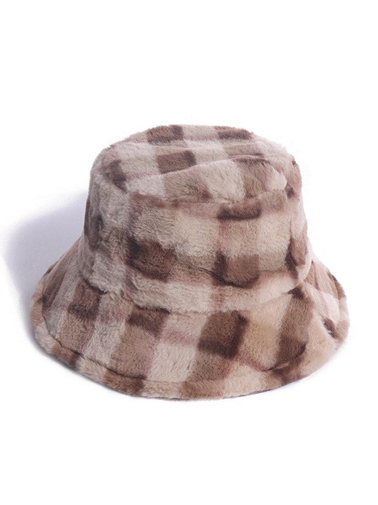 Women & Men Rabbit Fur Plaid Pattern Plus Thicken Warm Windproof Soft All-match Travel Bucket Hat