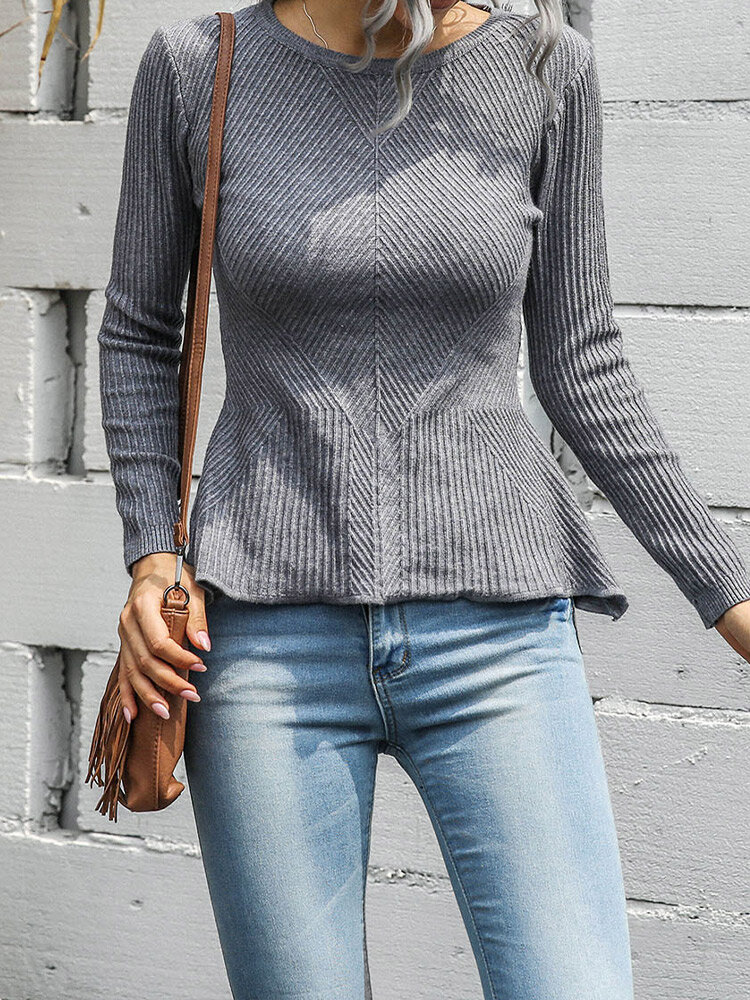 Solid Knitted O-neck Long Sleeve Sweater for Women