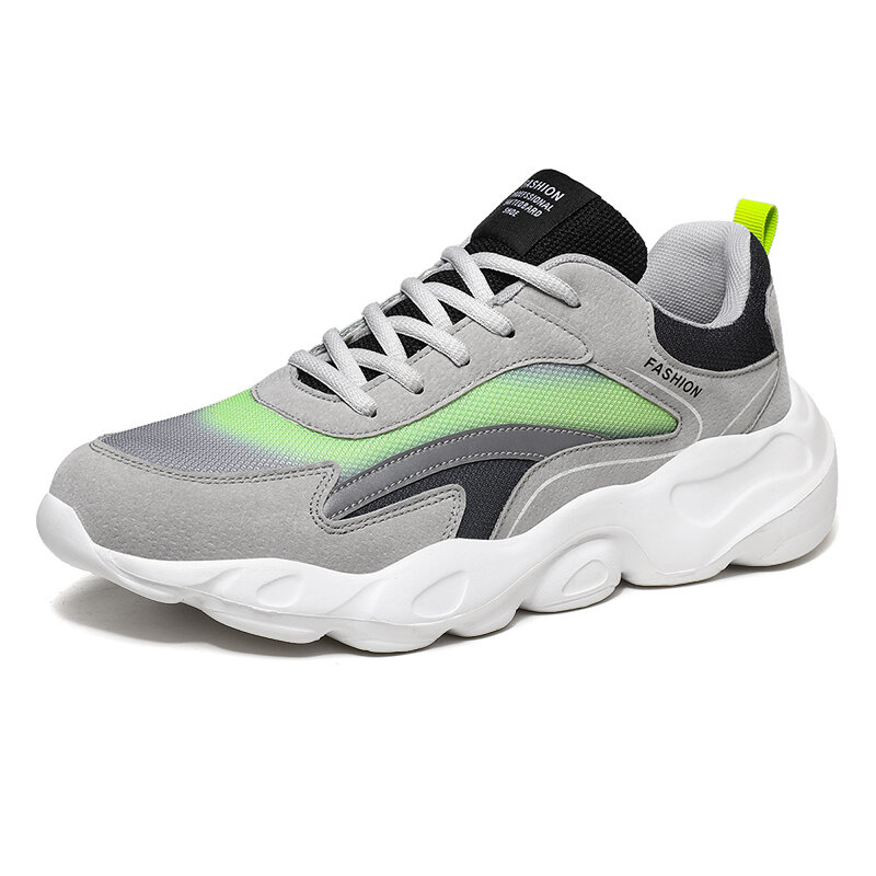 Men Colorblock Mesh Fabric Breathable Soft Sole Sport Running Chunky Sneakers