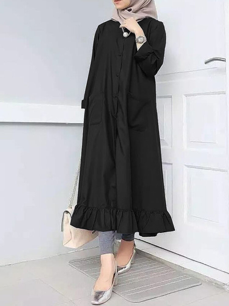 Women Ethnic Solid Color Button Ruffled Hem Pocket Casual Dress