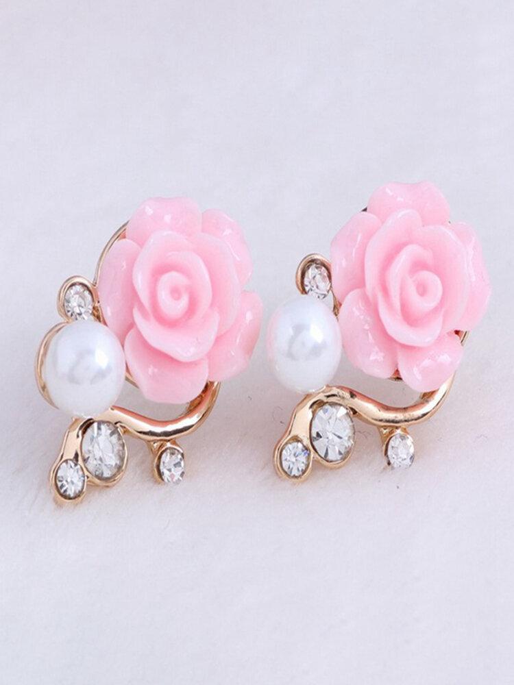 Vintage Ear Stud Earrings Pink Flower Pearls Flash Rhinestone Earrings Ethnic Jewelry for Women
