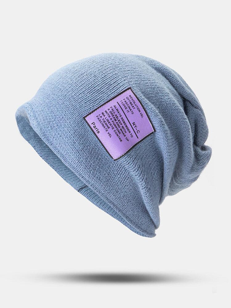 Unisexe laine autocollant solide mode tout-match pare-soleil bonnet bonnet tricoté - Newchic - Modalova