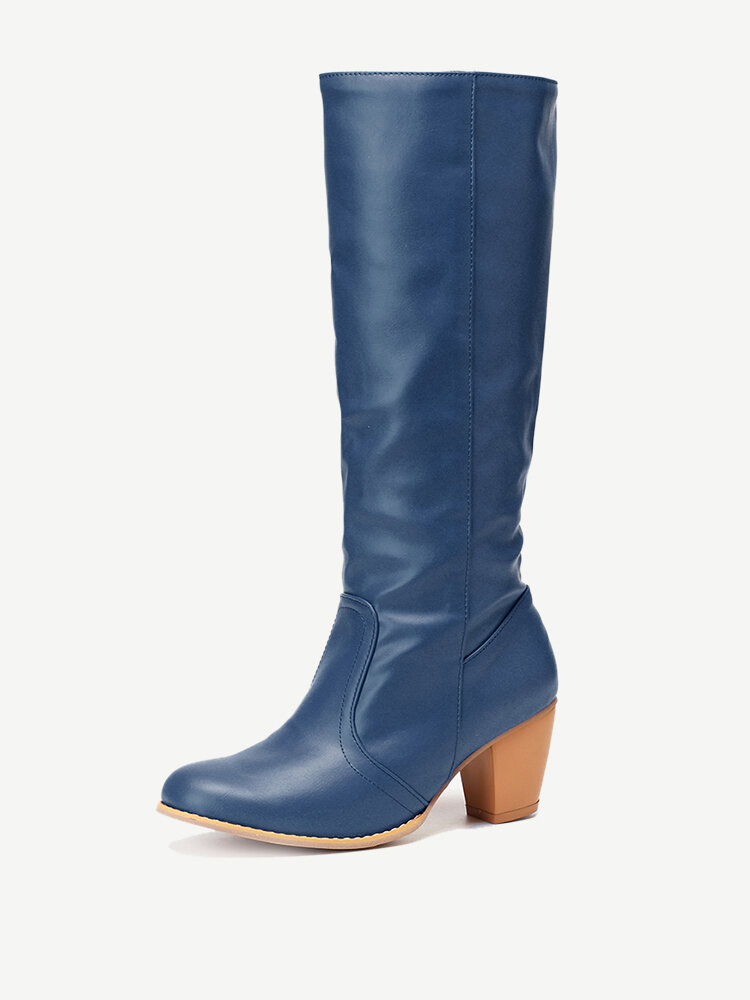 Large Size Women Pu Leather Solid Color Knee Length Boots