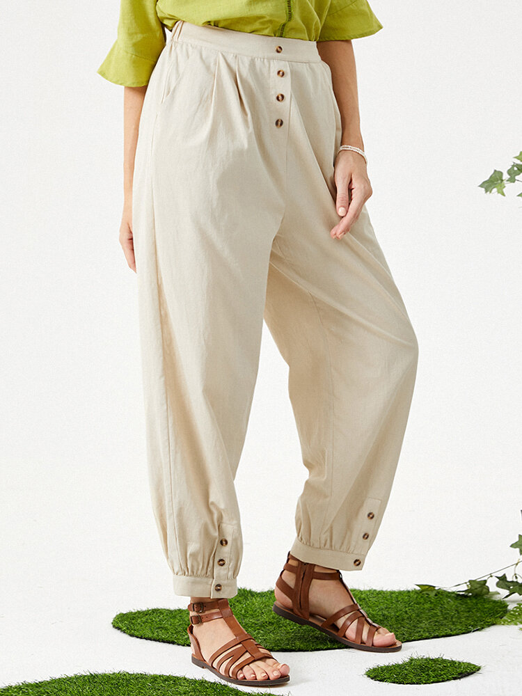 Casual Button Elastic Waist Pants with Pockets