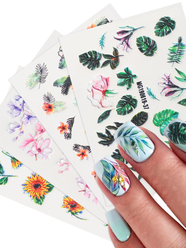 5D Relief Craft Colorful Butterfly Flower Pattern Three-Dimensional Watermark Nail Sticker