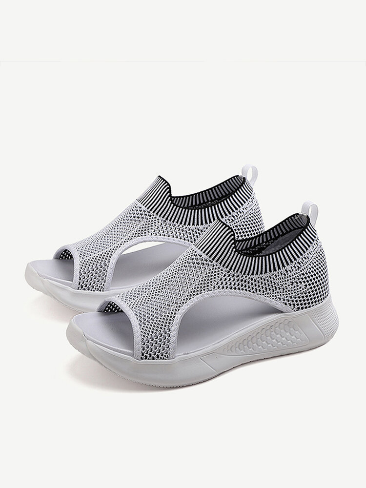 Women Large Size Knited Breathable Sports Sandals