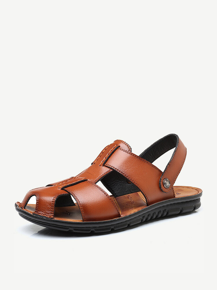 Large Size Men Water Friendly Closed Toe Leather Sandals