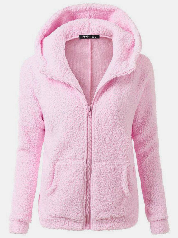 Veste zippée à capuche en peluche avec poches de couleur unie - Newchic - Modalova