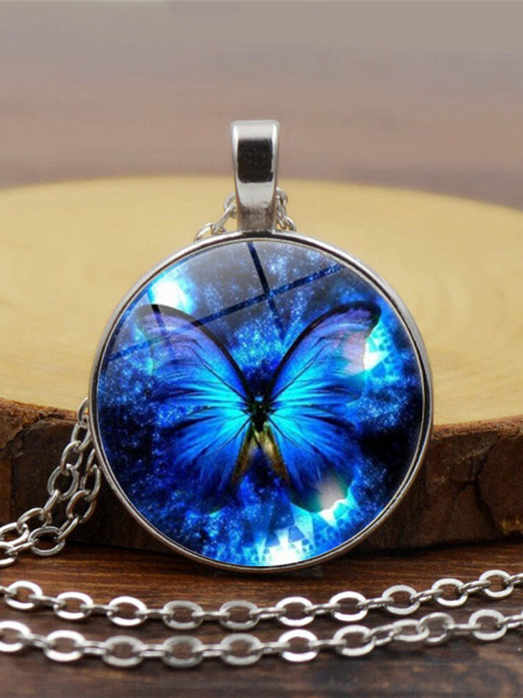 Vintage Blue Butterfly Women Necklace Alloy Glass Printing Pendant Sweater Chain