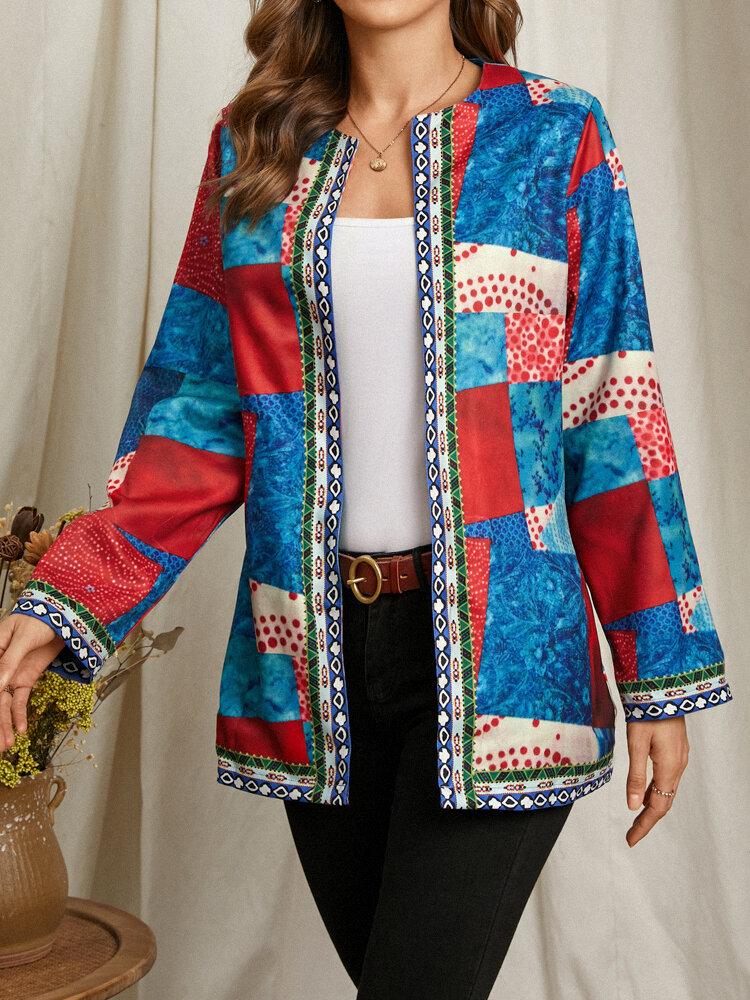 Long Sleeve Pocket O-neck Tribal Pattern Print Jacket