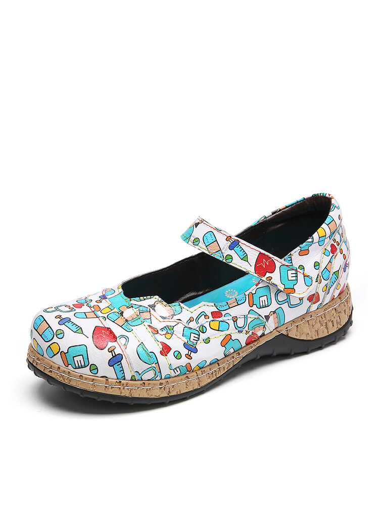 SOCOFY Printing Pattern Leather Comfy Wearable Hook Loop Casual Flat Shoes